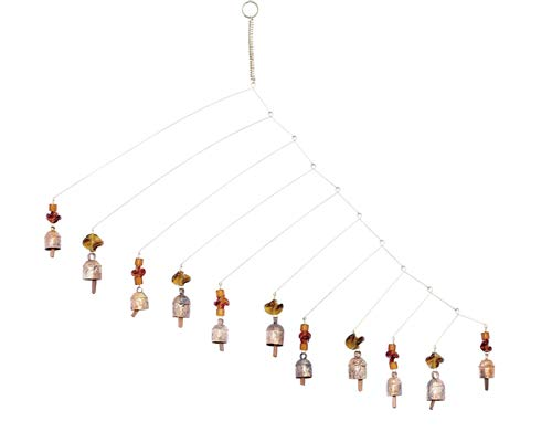 Nickanny's Handcrafted Wind Noisemaker with Long Metal Bars, Lovely Bells, and Glass Beads and Bells 27 in Long Wind Chimes with Nana Bell (Bronze Beads)