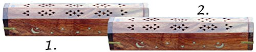Wooden Tribute Box (Nag Champa One for Me, One for You : Contain Incense Ash and Avoid Messy Clean - Up : Offering a Tribute to Artisans and Value for Shoppers - PORTABILITY and SAFETY - Two Wooden Carved Inlay Boxes)