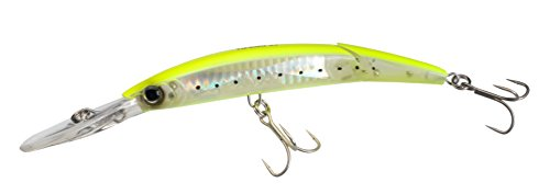 Yo-Zuri Crystal 3D Minnow Deep Diver Jointed Lure, Chartreuse Silver, 5-1/4-Inch Crystal Minnow Deep Diver Lures