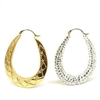 8819aeebd8bc The Olivia Collection 9ct Gold Large Oval Swarovski Creole Earrings  TOC   Amazon.co.uk  Jewellery
