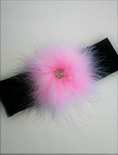 French Feathers ChanelCC.Charm Pink Head Band, Hair Wrap, Ponytail Band. Makes a Great Gift!
