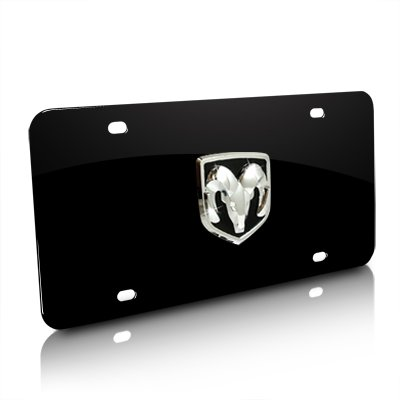 Official License Plate - Au-Tomotive Gold, INC. Dodge Ram 3D Logo Black Steel License Plate, Official Licensed