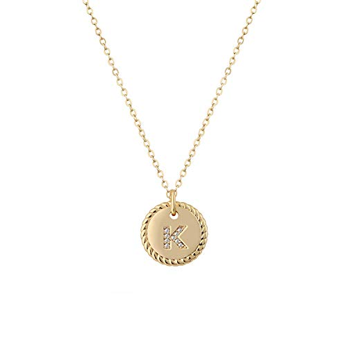 Fettero Gold Initial KNecklace,14K Gold Plated CZ Initial Disc Pendant Necklace for Women,Letter Necklaces for Girls and Boys-K