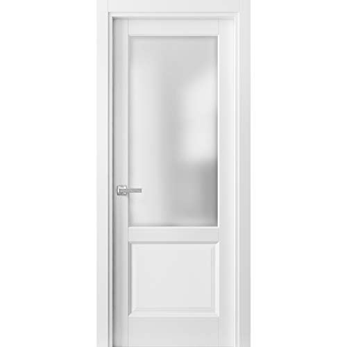 Pantry Kitchen Lite Door with Hardware | Lucia 22 Matte White with Frosted Opaque Glass | Sample of Color
