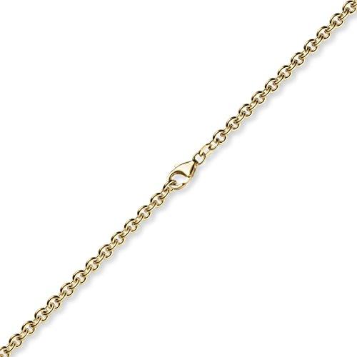 4,6 Mm couleur rundankerkette bracelet en or jaune 585 unisexe 19 cm