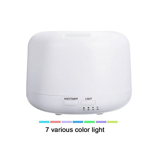 Micro Oil Diffuser Cool Mist Humidifier, House Room Mini Air Humidifiers for Baby Bedroom - Various Night Lights (White) by HILELIFE