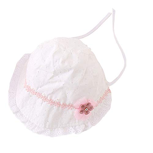(Toddlers Girls Lace Bonnet Cotton Sun Hat with Chin Strap Princess Flower Ornament Court Cap Baby Summer Hat (White))
