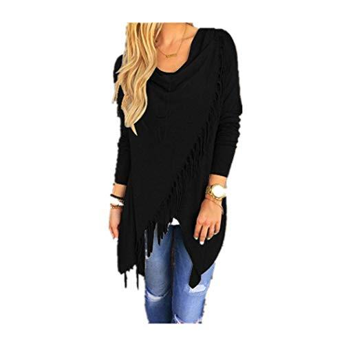 CUCUHAM Women Long Sleeve Tassel Hem Crew Neck Knited Cardigan Blouse Tops Shirt(Z1-Black,X-Large)