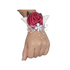 Handmade 2Piece Wine Red Crystal Bouquet Corsage Diamond Satin Rose Flowers for Wedding Bride Wrist Flowers 78