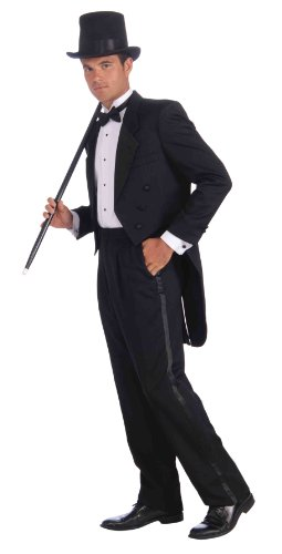 Forum Vintage Hollywood Tuxedo Tail Coat, Black, One Size Costume