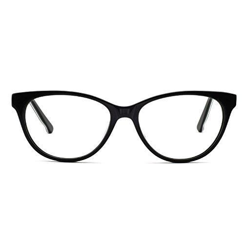 OCCI CHIARI Acetate Cateye Non-Prescription Frame Optical Eyewear Women (Black white) ()