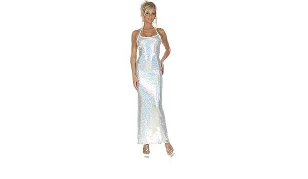 768cf6a9a435 Amazon.com: Nom de Plume, Inc Women's Sexy Halter Top Strech Sequin Silver  Gown: Clothing