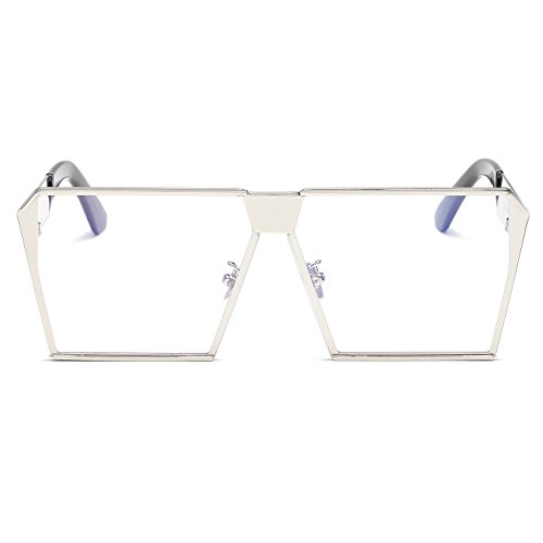 Sunglasses Metal Oversized Square Flat Frame Transparent Sunglasses Top Frame CVOO Silver xqSZ0TRwq