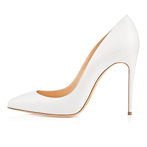 uBeauty Women's Court Shoes High Heels Pointed Toe Pumps Slip On Stiletto Heels Big Size Sandals White Pu FBhz8c9t