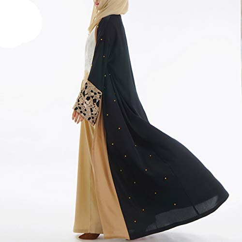 Gadfjuotg Perlas de Encaje en Medio Oriente musulmán Frente Abierto Maxi Coat Women Plus Size Cardigan Coat: Amazon.es: Ropa y accesorios