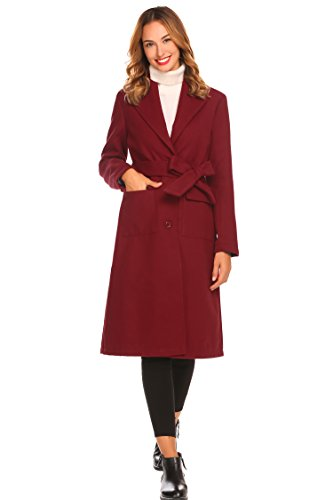 Collar Long Coat (Misakia Women's Winter Long Sleeve Belted Coat Tops Outwear with Pockets(Wine Red, S))