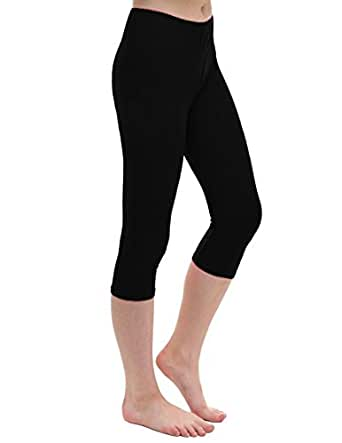 Janisramone Womens Ladies New Plain Stretchy 3/4 Leggings Workout Tight Gym Cropped Capri Active Pants Black