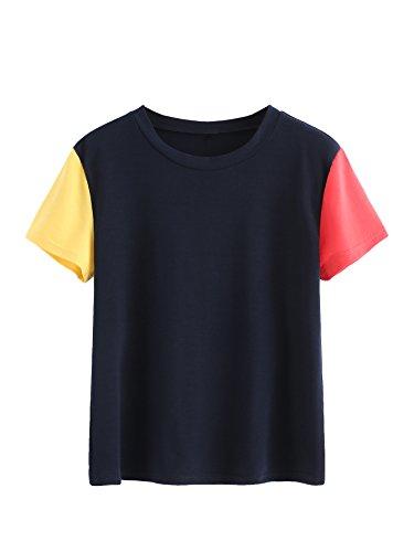 SweatyRocks Womens Summer Short Sleeve T Shirt Color Block Tee Tops