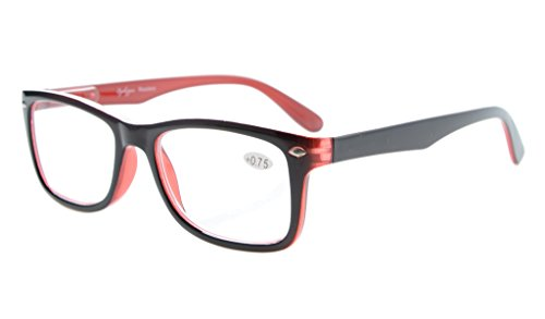 Eyekepper Readers Spring-Hinges Quality Classic Vintage Style Reading Glasses Black-Red - Quality Glasses Frames