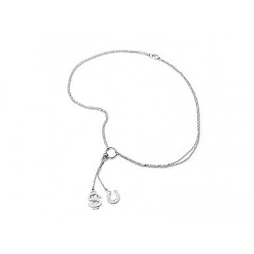 Hope Tree Charm Lariat Necklace with Dollar Sign Lucky Charm Horseshoe Sterling Silver Necklace