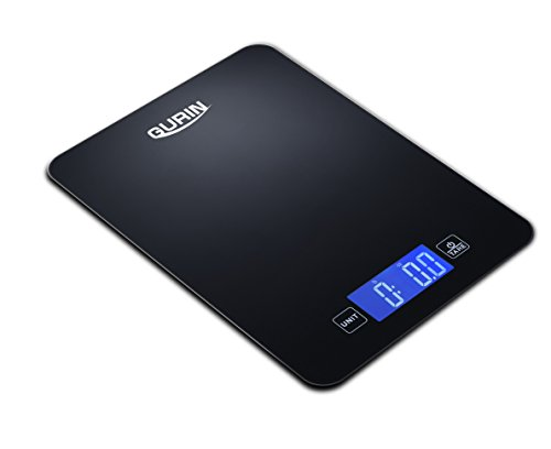Gurin Touch Professional Digital Kitchen Scale Tempered Glass, 12 lbs, Elegant Black