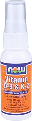 Now Foods Vitamin D-3 (1000 Iu) and K-2 (100mcg), Liposomal Spray 2 Fl Oz
