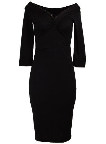 Black Off Shoulder Twist Bust Vintage Retro Rockabilly Pinup Women's Dress - Small (Wiggle Sailor Dress)