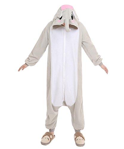 NEWCOSPLAY Halloween Adult Unisex Gray/Blue Elephant Pajamas Animal Cosplay Costume (XL, Grey Elephant)