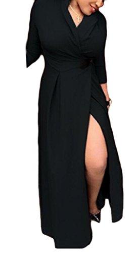 Coolred-femmes Palangre Haute Fraction Solide Robe De Cou V Noir Moulantes