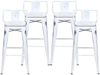 Changjie Furniture Bar Stools Set of 4 Counter Height Metal Bar Stools with Back Bar Stool with Wooden Seat for Kitchen Island 30 inch, Distressed White