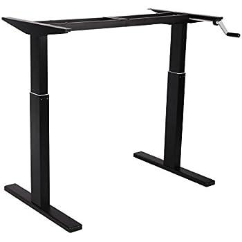 multitable hand crank height adjustable standing desk base frame only silver. Black Bedroom Furniture Sets. Home Design Ideas