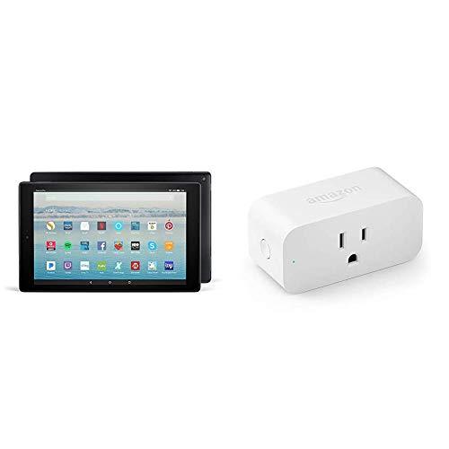 Fire HD 10 Tablet (10″ Full HD Display, Alexa Hands-Free, 32 GB, Black) with Amazon Smart Plug