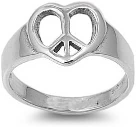 11mm .925 ITALIAN Sterling Silver PEACE, LOVE, HOPE & HAPPINESS Heart Ring 4-10