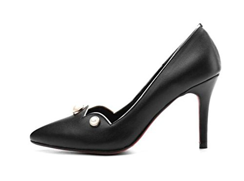 Lady's Pointe Toe Court Chaussures Mince Avec Talons Chaussures Rivet Basse Simple Chaussures Cuir Chaud Basse Chaussures , black , 38