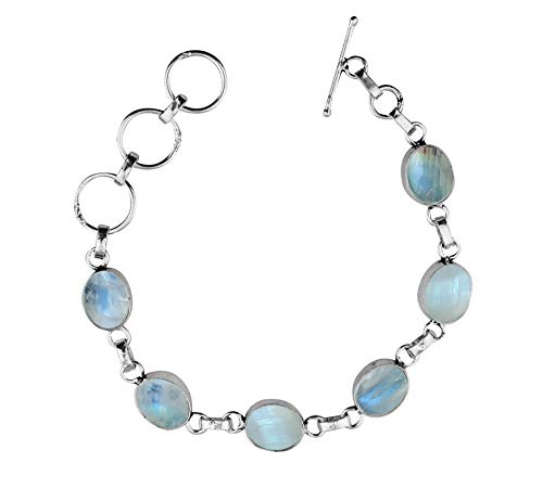 - Moonstone Bracelet Sterling Silver Handmade Vintage Style for Women and Girls