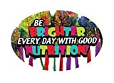 3'' x 2'' Big Oval Nutrition Stickers ''Be Brighter Every Day With Good Nutrition'' Rainbow Chard