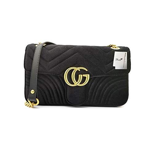 Quilted Purses and Handbags Black Crossbody Bags for Women Quilted Shoulder Bag Velvet