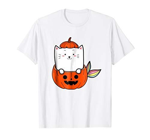 Funny Rainbow Cat Mermaid Halloween Pumpkins Costume Shirt ()