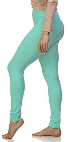 Lush Moda Women's Basic Leggings with Yoga Waist- Extra Soft and Variety of Colors - Mint ()