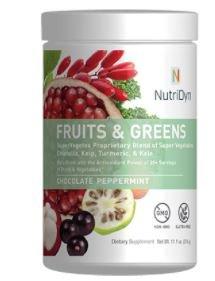NutriDyn Fruits & Greens Chocolate Peppermint Flavor *Certified Organic* w/ Acai, Gogi, Mangosteen, Noni & Pomegranate Super Fruits 314 Grams (Chocolate Peppermint)
