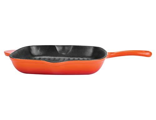 BERGNER-Eros-Cast-Iron-Grill-Pan-28-cm-Induction-Base-Orange
