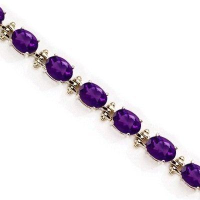 Oval Amethyst Link Bracelet 14k Yellow Gold February Birthstone (13.60 ctw)