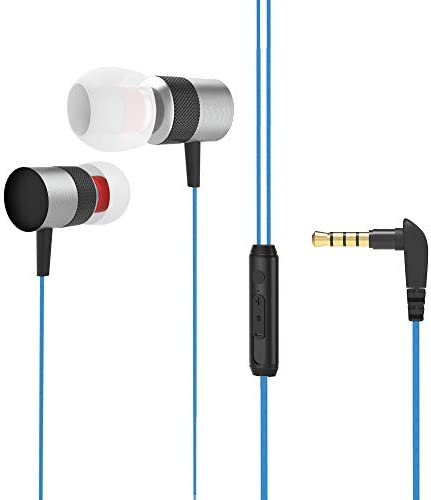 Wired Earphones, in Ear Earbuds with mic,Sport Noise Cancelling Headset Best bass Stereo Android Headphones of DiQi Blue