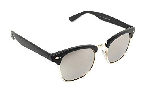 WebDeals - Vintage Classic Half Frame Horn Rimmed Browline Design Sunglasses (Black Matte, Gold / - 60s Glasses