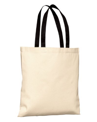 Port & Company Grocery Tote - Port & Company B150 Budget Tote - Natural/Black - One Size