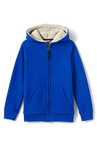 Lands End Kids Fleece - Lands' End Boys Sherpa Lined Hoodie, S, Vibrant Sapphire