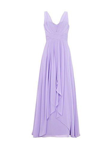 Charm Bridal 2017 Long Solid Color Brief Chiffon Women Summer Prom Evening Dress -14-Light purple by Charm Bridal