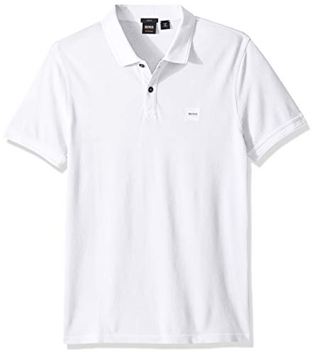 BOSS Orange Men's Prime Polo Shirt with Chest Logo Patch, White, Small ()