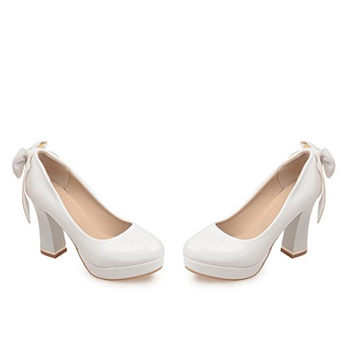 Balamasa Ladies Glass Diamond Spun Gold Bowknot Square Heels Imitated Leather Pumps-Zapatos White