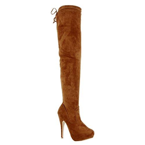Guilty Schuhe Damen Sexy Pull Up Stiletto Slouchy High Heel - Overknee Oberschenkel Hohe Stiefel Tan Wildleder